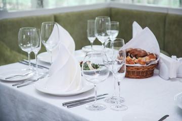 Festival table setting at the restaurant.