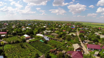 Small village in Dobrogea, Romania (aerial perspective)