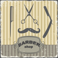 Barber shop vintage retro template. Vector