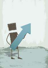 Upwards. An executive with an arrow pointing up