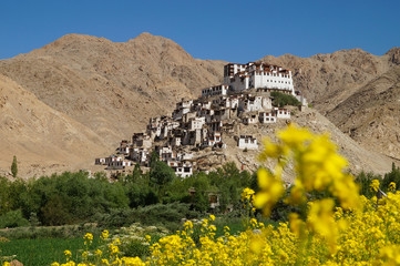 Chemrey monastery against deep blue sky in Ladakh