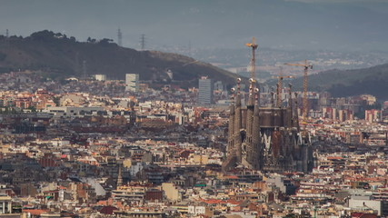 Barcelona skyline Sagrada Familia close up time lapse