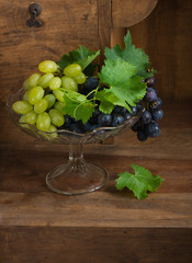 Grapes in glass vase