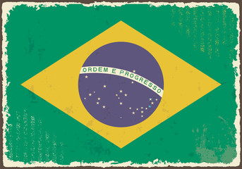 Brazilian grunge flag. Vector illustration