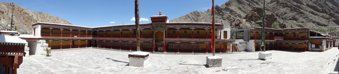 Panorama view of Hemis Monastery against deep blue sky , Leh, in