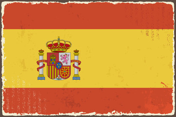 Spanish grunge flag. Vector illustration