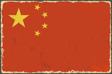 Chinese grunge flag. Vector illustration