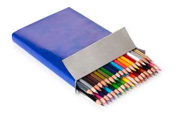 Colurful pencils in a box.