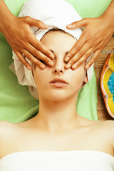 stock photo attractive lady getting spa treatment in salon,