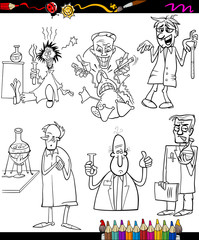 scientists set cartoon coloring book