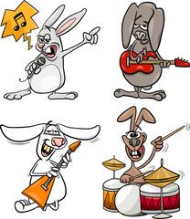 rabbits rock musicians set cartoon