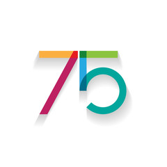 number 75 in flat design