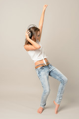 Teenage girl dance listen music enjoy fun