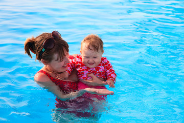 mother and daughter enjoy swimming on vacation