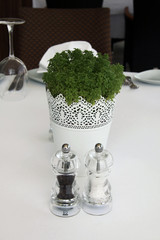 salt and pepper mills shaker with flower table in restaurant