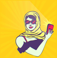 Vintage clipart: woman taking selfie with smartphone camera
