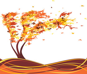 Autumn grunge tree in the wind. Vector