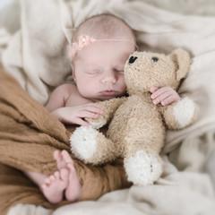 Baby hält Teddy