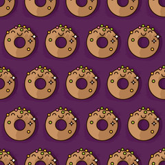 Kawaii donut pattern