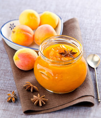 canned peaches in a jar of anise