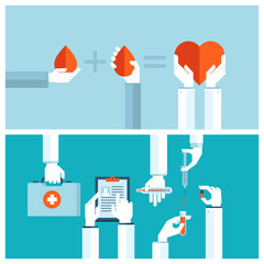 Flat design concepts for blood transfusion and medical care
