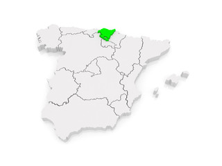Map of Basque Country. Spain.