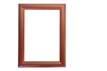 Brown wooden picture frame isolated on white