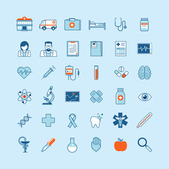 Set of flat design icons on medicine theme