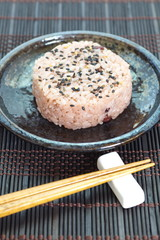 Japanese rice ball steamed red bean with sesame