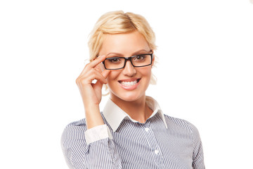 beautiful business woman wearing glasses. isolated over white