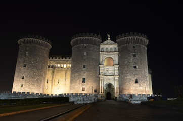 Night view over Castel nuovo in Naples.