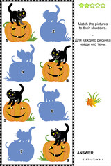 Match to shadow game - pumpkin and black cat