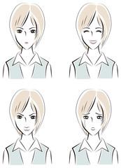 女性の表情アイコン