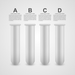 Modern infographic on science in the form of test tubes.