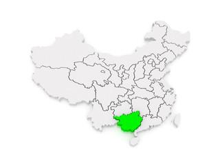 Map of Guangxi Zhuang Autonomous Region. China.