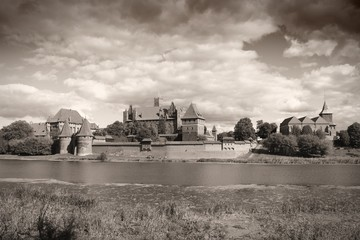 Malbork, Poland - UNESCO listed castle. Sepia toned image.