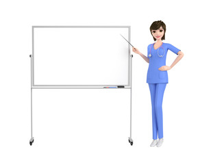 3D illustration character - woman doctor