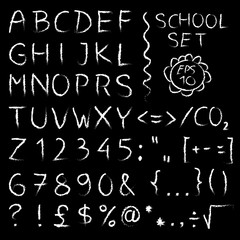 Hand wright shool alphabet on black