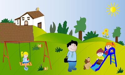 Niños en el campo con tobogán y columpio.