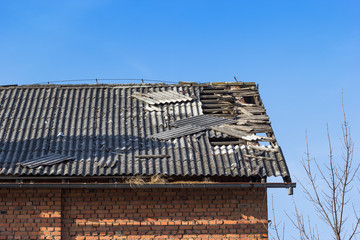 damaged tile on the roof