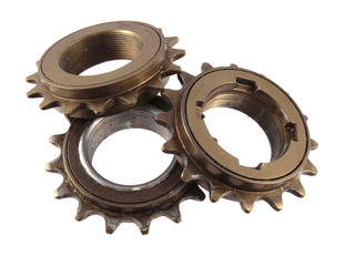 Close up of gear wheels and cogs,