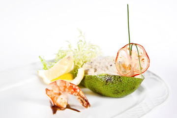 Ristotto with seafood in avocado