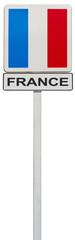 drapeau français sur panneau de signalisation