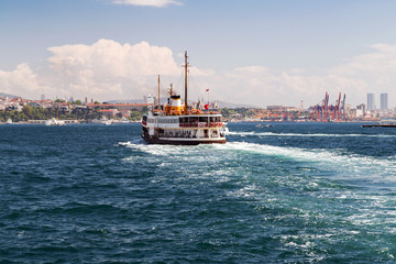 Passenger vessel in Bosporus, Istanbul, Turkey.