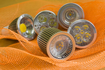 GU10 LED bulbs with different optic parts and reflectors