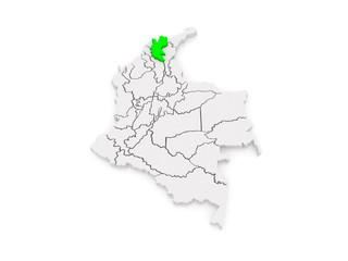 Map of Magdalena. Colombia.
