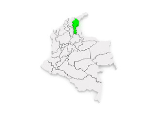 Map of Cesar. Colombia.