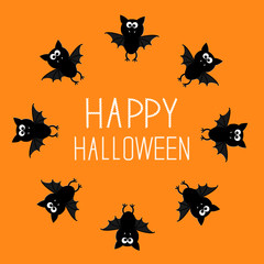 Cute bat round frame. Happy Halloween card. Orange background