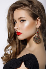 Profile of Respectable Classy Brunette with Earrings