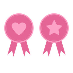 Badge set with heart star heart ribbons Award icon in flat